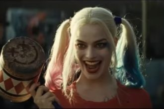 A screenshot of the DC character Harley Quinn from the trailer of the upcoming film Suicide Squad